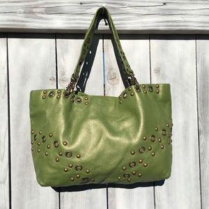 Hobo Green Leather Satchel Bag, Medium
